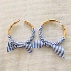 Gold Hoop Earrings with Blue/White Striped Accent